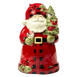 Certified International Winter's Plaid 3-D Santa Cookie Jar