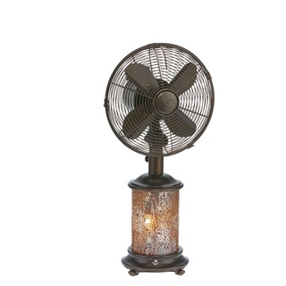 Mosiac Glass Honey Amber Table Fan with Light