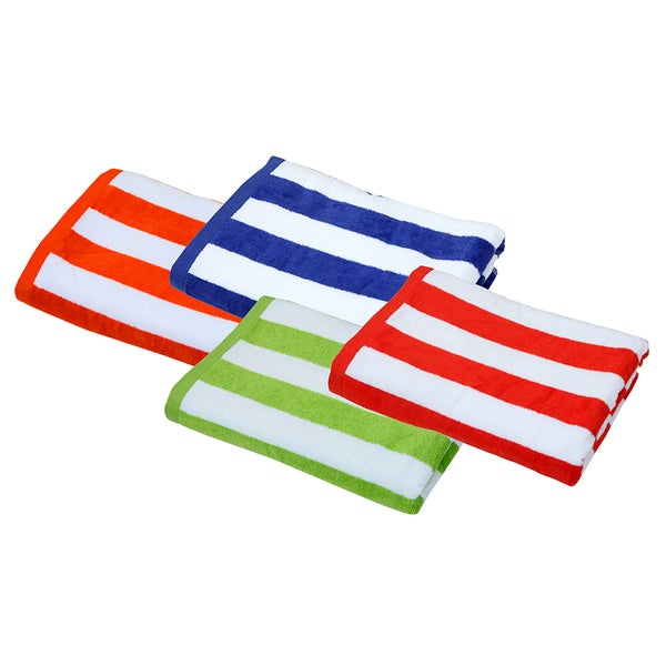 Cabana Stripe 30-inch x 60-inch Beach Towels (Set of 4 assorted colors)
