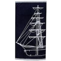 Navy Sail Boat 40-inch x 70-inch Velour Beach Towel