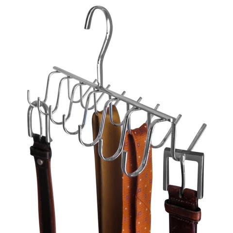 Evelots Tie, Belt, Scarf,jewelry Rack-Hanger-Closet Organizer-Chrome-14 Hooks