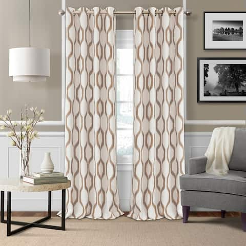 Elrene Renzo Ikat Geometric Linen Room Darkening Window Curtain