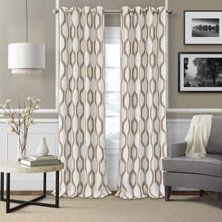 Elrene Renzo Ikat Geometric Linen Room Darkening Window Curtain