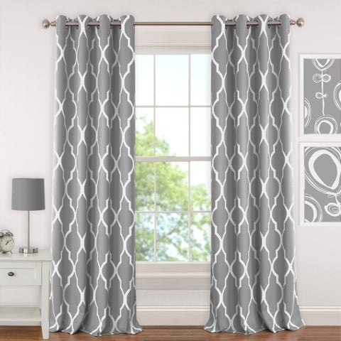 Elrene Emery Blackout Room Darkening Grommet Linen Curtain Panel