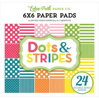 "Echo Park Double-Sided Paper Pad 6""X6"" 24/Pkg-Spring Dots & Stripes"