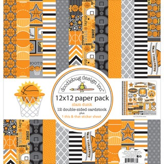 "Doodlebug Double-Sided Paper Pack 12""X12"" 12/Pkg-Slam Dunk"