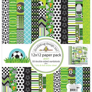 "Doodlebug Double-Sided Paper Pack 12""X12"" 12/Pkg-Goal!!"