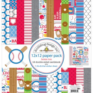 "Doodlebug Double-Sided Paper Pack 12""X12"" 12/Pkg-Home Run"