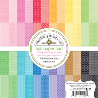 "Doodlebug Petite Prints Double-Sided Paper Pad 6""X6"" 24/Pkg-Dot/Grid, Daisy/Stripe; 12 Designs/2ea"