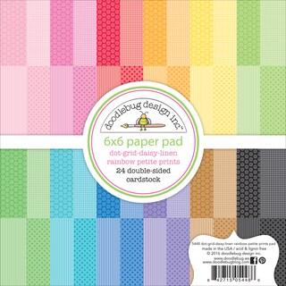 "Doodlebug Petite Prints Double-Sided Paper Pad 6""X6"" 24/Pkg-Dot/Grid, Daisy/Stripe; 12 Designs/2ea"