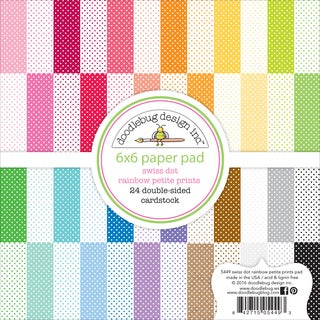 "Doodlebug Petite Prints Double-Sided Paper Pad 6""X6"" 24/Pkg-Swiss Dot, 12 Designs/2 Each"