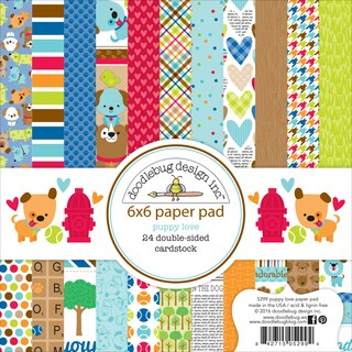 "Doodlebug Double-Sided Paper Pad 6""X6"" 24/Pkg-Puppy Love"