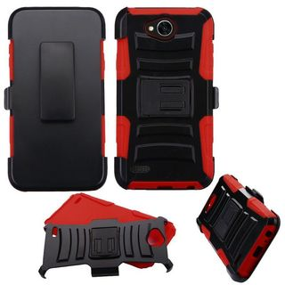 Insten Black/ Red Advanced Armor Hard Snap-on Dual Layer Hybrid Case Cover with Stand/ Holster For LG X Power 2