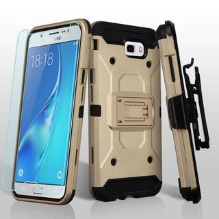 Insten Gold/ Black Kinetic Hard Snap-on Dual Layer Hybrid Case Cover For Samsung Galaxy J7 (2017)/ J7 Perx/ J7 Sky Pro/ J7 V