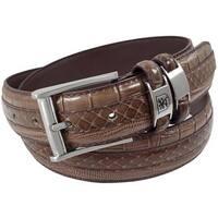 Stacy Adams 35mm Chocolate Tri-Leather Embossed, Croc, Lizard, Snake Belt