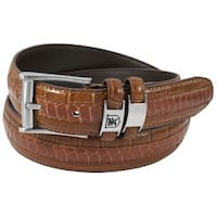 Stacy Adams 35mm Cognac Tri-Leather Embossed, Croc, Lizard, Snake Belt