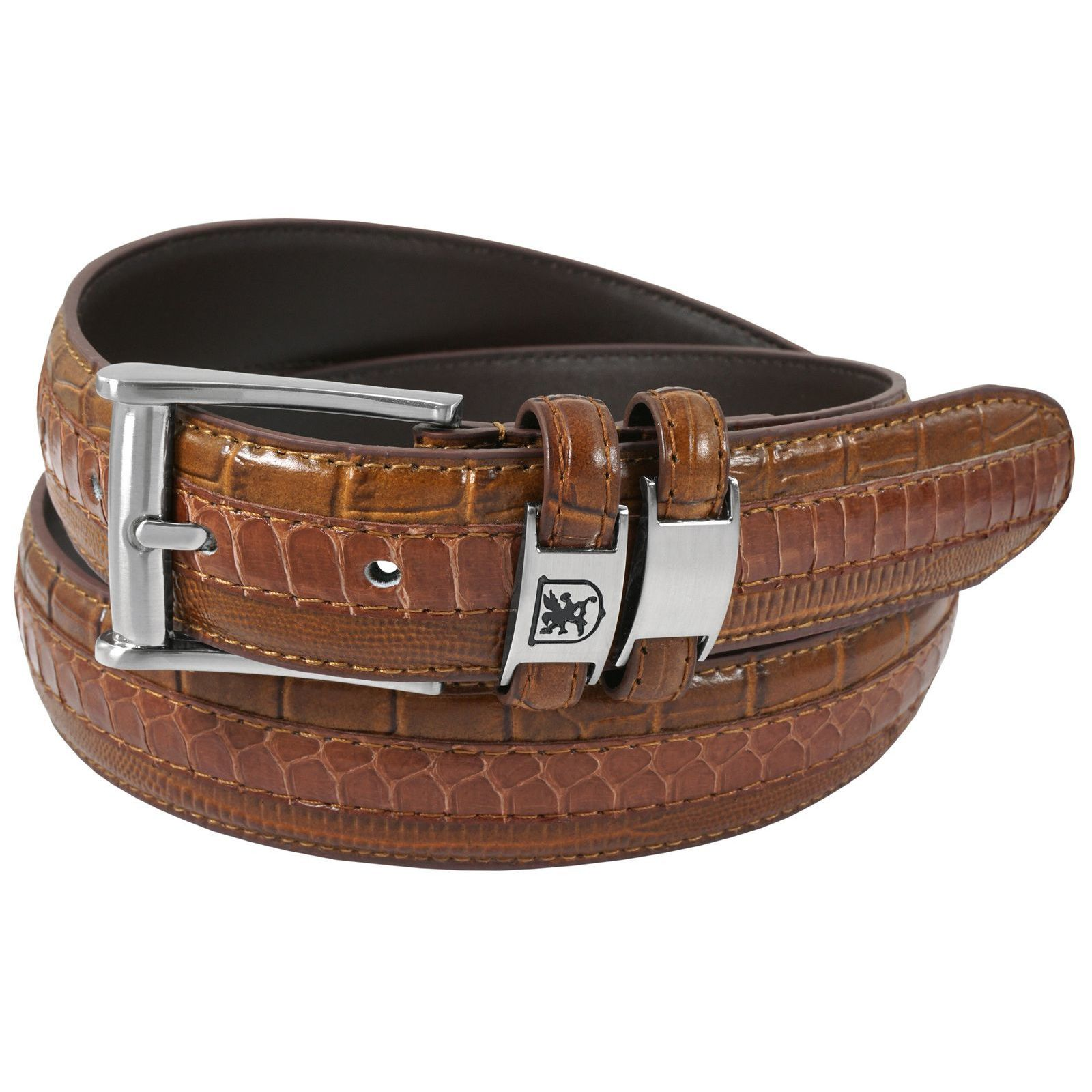 Lizard and Snake Skin Embossing Brown Color Genuine Leather Belt with Alligator