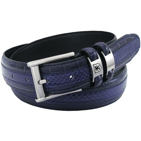 Stacy Adams 35mm Blue Tri-Leather Embossed, Croc, Lizard, Snake Belt