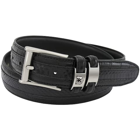 Stacy Adams 35mm Black Tri-Leather Big and Tall Embossed, Croc, Lizard, Snake Belt