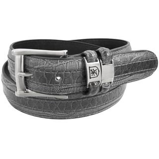 Stacy Adams 35mm Grey Tri-Leather Big and Tall Embossed, Croc, Lizard, Snake Belt