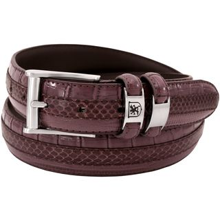 Stacy Adams 35mm Burgundy Tri-Leather Big and Tall Embossed, Croc, Lizard, Snake Belt