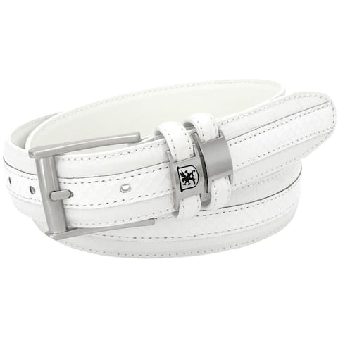 Stacy Adams 35mm White Tri-Leather Big and Tall Embossed, Croc, Lizard, Snake Belt