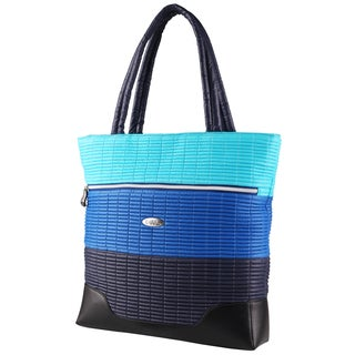 OUUL Ribbed Navy/ Blue/ Light Blue Tote Bag