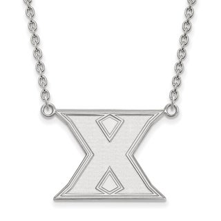 Sterling Silver LogoArt Xavier University Large Pendant with Necklace
