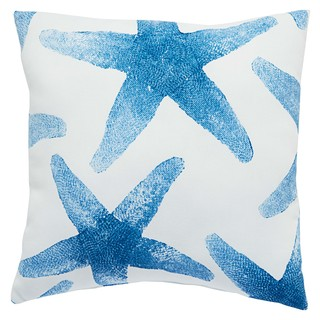 Marine Indoor/ Outdoor Geometric Blue/ White Throw Pillow