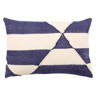 Nikki Chu Caveat Geometric Navy/ White Throw Pillow