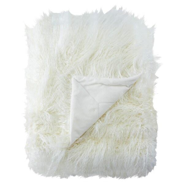Allura Faux Fur White Throw