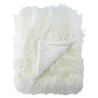 Allura Faux Fur White Throw