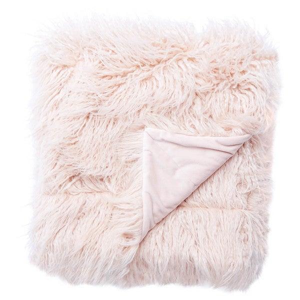 Allura Faux Fur Pink Throw