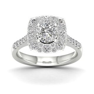 De Couer 1 3/4ct TDW Diamond Halo Engagement Ring - White