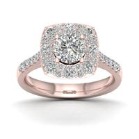 De Couer 1 3/4ct TDW Diamond Halo Engagement Ring - Pink
