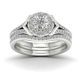 De Couer 3/4ct TDW Diamond Halo Bridal Ring - White
