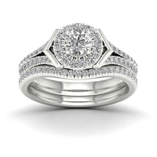 de couer 34ct tdw diamond halo bridal ring white - Halo Wedding Ring