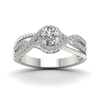 De Couer 5/8ct TDW Diamond Halo Engagement Ring - White