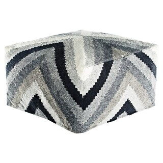 Madrid Chevron Gray Pouf