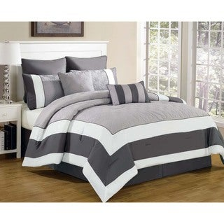 Spain Hotel Quilted Oversized and Overfilled 7-piece King Size Comforter Set in White/Black(As Is Item)