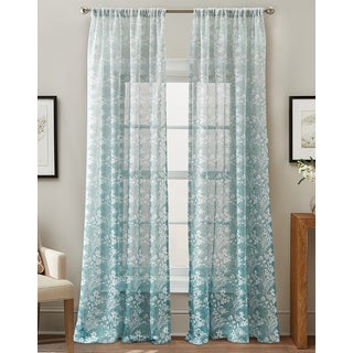 Brookfield Blue Floral Sheer 84-inch Curtain Panel
