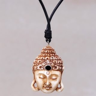 Handcrafted Bone Leather 'Buddha Head' Necklace (Indonesia)