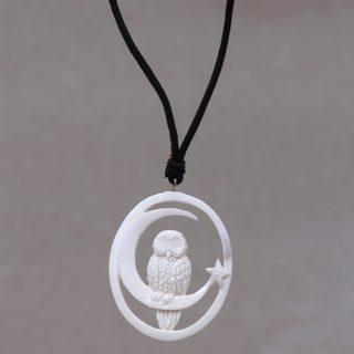 Handmade Bone Leather 'Magic Night' Necklace (Indonesia)