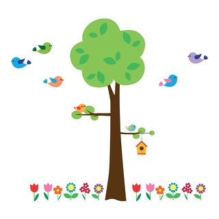 Tree with Flowers Wall Decals