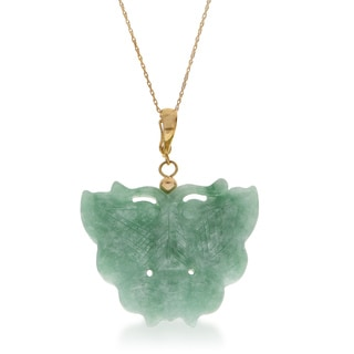 "Gems For You 18"" 10KY Jade Butterfly Pendant"