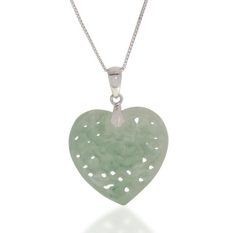 "18"" Sterling Silver Carved Jadeite Heart Pendant"