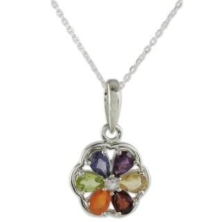 Handmade Sterling Silver 'Energy Bloom' Multi-gemstone Chakra Necklace (India)