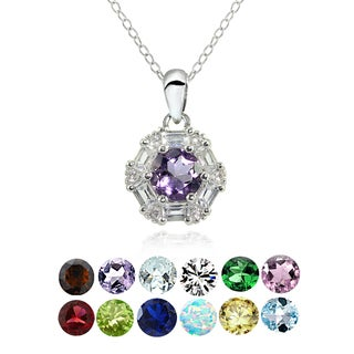 Glitzy Rocks Sterling Silver Birthstone Gemstone Baguette Round-cut Necklace