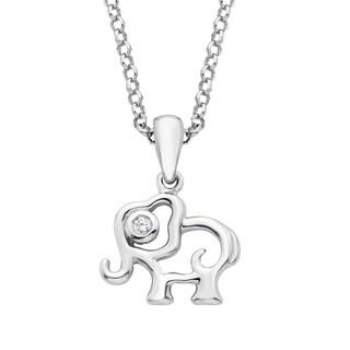 Little Diva Diamonds Girl's Sterling Silver .01ct TDW Diamond Accent Elephant Pendant w/ Chain