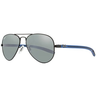 Ray-Ban Aviator RB8307 006/40 Unisex Matte Black/Blue Frame Grey Mirrored Lens Sunglasses